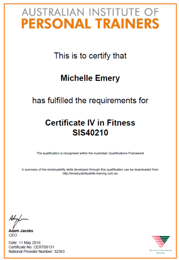 Certificate IV in Fitness SAS40210